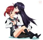 2girls black_hair closed_eyes female forehead_kiss isshiki_akane kiss kueru kuroki_rei long_hair multiple_girls red_eyes redhead scarf school_uniform serafuku short_hair short_shorts shorts thigh-highs twintails vividred_operation yuri