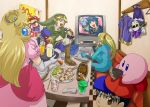 blonde_hair child crown doseisan dress drink facial_hair falco_lombardi fire_emblem fire_emblem:_monshou_no_nazo karaoke kirby kirby_(series) link mario marth meta_knight metroid microphone mother_(game) mother_2 mushroom mustache ness nintendo pikmin pink_dress pocky princess_peach samus_aran star_fox super_mario_bros. super_mushroom super_smash_bros. suzumiya_misa television the_legend_of_zelda tray zero_suit