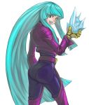 1girl aqua_eyes aqua_hair ass big_butt bodysuit chaps cropped_jacket gloves hime_cut ice king_of_fighters kula_diamond long_hair ns_(dir666) payot smile solo very_long_hair