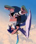 angel armpits chiton cloud dark_pit flying kid_icarus kid_icarus_uprising male red_eyes sandals sky sword uichi upside-down weapon wings