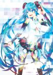 1girl blue_eyes blue_hair bridal_gauntlets hatsune_miku long_hair miku_append navel open_mouth satou0609 solo thigh-highs twintails very_long_hair vocaloid vocaloid_append