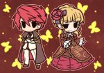 1boy 1girl beatrice blonde_hair butterfly chibi cloak crossed_arms dress flower fushigi_ebi hair_flower hair_ornament necktie outline red_hair redhead smile solid_oval_eyes umineko_no_naku_koro_ni ushiromiya_battler