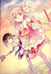 2girls black_hair brown_eyes elbow_gloves fate/kaleid_liner_prisma_illya fate_(series) gloves illyasviel_von_einzbern long_hair magical_girl miyu_edelfelt multiple_girls norino_moto pink_eyes pink_hair prisma_illya red_eyes staff traditional_media watercolor_(medium)
