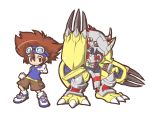 brown_eyes brown_hair chibi digimon digimon_adventure fushigi_ebi goggles goggles_on_head pointing shorts simple_background smile wargreymon white_background yagami_taichi