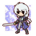 1boy boots braid chibi fushigi_ebi gloves long_hair male silver_hair solid_oval_eyes solo sword tales_of_(series) tales_of_rebirth veigue_lungberg weapon