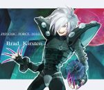 albino aqua_background bodysuit brad_kirsten character_name claws hair_over_one_eye male pauldrons psychic_force qp_db red_eyes rinnagi solo title_drop white_hair