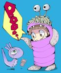 1girl boo_(monsters_inc.) brown_eyes brown_hair child costume creature cyclops doll english eyestalks grin ikuchi_osutega lizard monster monsters_inc. randall_boggs sharp_teeth simple_background smile tentacle tentacles