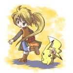 :d blonde_hair boots child china_dress chuchu_(pokemon) flower fushigi_ebi green_eyes jeans long_hair looking_back no_hat no_headwear open_mouth pikachu poke_ball pokemon pokemon_special ponytail smile waist_poke_ball yellow_(pokemon)