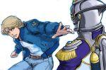 blonde_hair blue_eyes blue_jacket bomber_jacket dual_persona epaulettes glowing helmet jacket jeans jetpack keith_goodman kubokawa_(haifukikara) outstretched_hand power_suit short_hair sky_high superhero tiger_&_bunny
