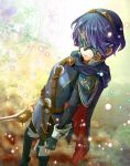 belt blue_hair boots cape fingerless_gloves fire_emblem fire_emblem:_kakusei gloves greaves hitohana lucina marth_(fire_emblem:_kakusei) mask shoulder_pads sword weapon