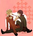2boys birthday_cake black_hair blonde_hair cake dated dual_persona feeding food fruit giorno_giovanna haribote_gangsta highres jojo_no_kimyou_na_bouken multiple_boys strawberry