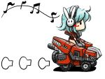 chibi cosmic_break driving headset plain_background shino_exroad simple_background