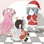 bag beard blue_eyes blue_hair blush_stickers bow checkered checkered_floor chibi dress facial_hair fake_beard fur_trim goddess_madoka hair_bow hair_ornament hairclip hat kaname_madoka kirikuchi_riku long_hair magical_girl mahou_shoujo_madoka_magica mahou_shoujo_madoka_magica_movie miki_sayaka momoe_nagisa pink_hair red_eyes santa_costume santa_hat short_hair sitting spoilers two_side_up white_hair yellow_eyes