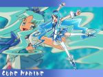 arms_up blue blue_background blue_eyes blue_hair bow brooch character_name choker cure_marine fuchi_minoru hair_ornament hairpin happy heartcatch_precure! jewelry kurumi_erika long_hair precure puffy_sleeves ribbon shoes skirt solo thigh-highs thighhighs white_legwear