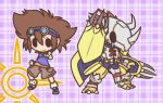 1boy brown_hair chibi digimon digimon_adventure fushigi_ebi goggles goggles_on_head outline plaid plaid_background pointing shorts smile solid_oval_eyes wargreymon yagami_taichi