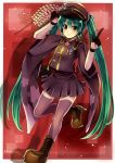 1girl boots brown_eyes gloves green_hair hat hatsune_miku long_hair medal peaked_cap ruchiru senbon-zakura_(vocaloid) skirt smile solo thigh-highs twintails very_long_hair vocaloid zoom_layer