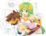 angel_wings blue_eyes blush bouncing_breasts breasts brown_hair choker crown ear_blush from_behind frown gauntlets goddess green_hair hirano_kei jewelry kid_icarus large_breasts long_hair necklace nintendo open_mouth palutena pit pit_(kid_icarus) scolding short_hair translated translation_request tunic wings