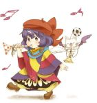 1girl ball beret blue_hair blush bow eiko_carol final_fantasy final_fantasy_ix hair_bow hat horn horn_(instrument) instrument ma-hain-scarlet moogle musical_note pinky_out poncho short_hair soccer_ball wings