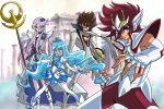 2boys 2girls armor athena blue_hair bodysuit casshern casshern_sins creator_connection crossover cure_marine cure_moonlight heartcatch_precure! kurumi_erika long_hair magical_girl mask matirine multiple_boys multiple_girls pegasus_koga pegasus_seiya precure purple_hair saint_seiya saint_seiya_omega tsukikage_yuri