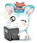 :3 blue_eyes blush book hamster hamtaro hat kamishirasawa_keine lightbulb rebecca_(keinelove) solo touhou wink