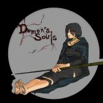 against_wall bandage bandages barefoot black_hair blind demon's_souls demon's_souls dirty_feet do-poi feet jewelry maiden_in_black necklace scar short_hair sitting soles solo title_drop toes