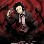 1boy adachi_tooru black_hair evil formal grin looking_at_viewer male messy_hair necktie persona persona_4 pointing pointing_at_self smile solo squatting suit yellow_eyes
