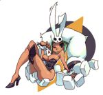alex_ahad alternate_costume animal_ears between_breasts breasts bunny_ears bunny_girl bunny_tail bunnysuit card cerebella_(skullgirls) cleavage crossed_legs dark_skin eyeshadow green_hair green_lipstick high_heels highres large_breasts lipstick living_clothes makeup official_art playing_card short_hair sitting skullgirls smile solo tail vice-versa_(skullgirls) wink wrist_cuffs