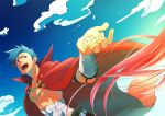 1boy blue_hair blue_sky cape dutch_angle kamina open_mouth outstretched_hand red_eyes sarashi shirtless sky solo tattoo tengen_toppa_gurren_lagann umapan