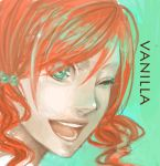face final_fantasy final_fantasy_xiii green_eyes happy jajako oerba_dia_vanille red_hair redhead wink