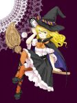 1girl alternate_costume ankle_lace-up blonde_hair broom broom_riding candy cape cross-laced_footwear doily hat hat_ribbon kirisame_marisa lollipop long_hair lowres ma-hain-scarlet orange_legwear pantyhose ribbon skirt smile solo touhou wink witch_hat yellow_eyes