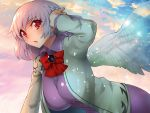 1girl angel_wings bangs beige_jacket bent_over blue_sky blush braid breasts brooch clouds cloudy_sky dress error eyebrows_visible_through_hair french_braid from_side hand_up hanging_breasts jewelry kishin_sagume large_breasts light_particles long_sleeves looking_at_viewer open_mouth pink_lips pink_sky purple_dress red_eyes reflective_eyes ribbon shiny shiny_clothes shiny_hair short_hair silver_hair single_wing sky solo sunlight sunset touhou umigarasu_(kitsune1963) upper_body wings