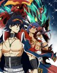 2boys blue_hair cape coat corset goggles goggles_on_head kamina_shades marukome01 mecha multiple_boys shirtless sword tengen_toppa_gurren-lagann_(mecha) tengen_toppa_gurren_lagann time_paradox weapon