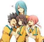 :d ^_^ bandaid bandaid_on_nose black_hair blue_hair brown_eyes brown_hair closed_eyes eyes_closed hair_over_one_eye inazuma_eleven inazuma_eleven_(series) inazuma_eleven_go kazemaru_ichirouta kirino_ranmaru kurumada_gouichi light_smile long_hair multiple_boys open_mouth pink_hair raimon shindou_takuto simple_background smile soccer_uniform twintails white_background white_hair yellow_eyes yorozuyozu