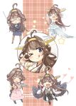 1girl absurdres ahoge apron bespectacled black_skirt boots brown_hair cannon detached_sleeves double_bun dress elbow_gloves formal frilled_skirt frills fyuo glasses gloves hairband headgear highres japanese_clothes kantai_collection kongou_(kancolle) long_hair long_sleeves nontraditional_miko one_eye_closed remodel_(kantai_collection) ribbon-trimmed_sleeves ribbon_trim rigging skirt skirt_suit suit thigh-highs thigh_boots turret violet_eyes wedding_dress white_dress white_gloves