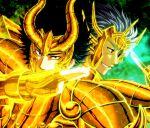 armor black_hair blue_hair cancer_deathmask capricorn_shura full_armor multiple_boys saint_seiya