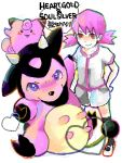 1girl akane_(pokemon) animal blush_stickers clefairy cow fighting_stance footwear gym_leader heart kko looking_at_viewer miltank pink pink_eyes pink_hair pokemon pokemon_(creature) pokemon_(game) pokemon_gsc red_eyes rough shorts sitting socks standing t-shirt title_drop twintails udder