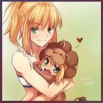 2girls ahoge animal_costume blonde_hair blush braid chibi colored fang fate/apocrypha fate/stay_night fate/tiger_colosseum fate_(series) french_braid gao green_eyes heart hug lion_costume long_hair multiple_girls ponytail saber_lion saber_of_red scrunchie spoken_heart tubetop tusia