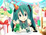:q balloon birthday blue_eyes cake detached_sleeves flower food food_on_face fork gift hachune_miku hatsune_miku necktie pastry pennel spring_onion tongue twintails vocaloid