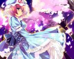 butterfly cherry_blossoms hat highres kinoko petals pink_eyes pink_hair saigyouji_yuyuko short_hair touhou