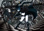 bikini_top black_hair black_rock_shooter black_rock_shooter_(character) blue_eyes boots chain checkered checkered_floor coat cross gears glowing glowing_eyes gun hebata highres long_hair midriff navel pale_skin rifle scar shell_casing shorts solo star twintails weapon