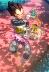 1boy apron armor berry black_eyes black_hair boots bread cake chocolate_cake cup dappled_sunlight day dessert dragon_ball dragon_ball_super dragonball_z expressionless fish fish_tank floating food glass gloves grass highres lettuce male_focus napkin open_mouth orange_juice outdoors pie serious short_hair spiky_hair sunlight supobi teacup teapot tray vegeta yogen-gyo