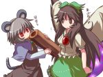 animal_ears arm_cannon black_hair bow brown_eyes eyes grey_hair hair_bow hakika long_hair mouse_ears mouse_tail multiple_girls nazrin red_eyes reiuji_utsuho short_hair silver_hair skirt tail touhou translated weapon wings