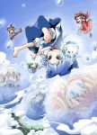 bloomers blue_eyes blue_hair chibi cirno daiyousei feet flying foreshortening frozen gohei grin hakurei_reimu ham_(points) hands ice kirisame_marisa luna_child smile star_sapphire sunny_milk touhou