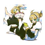 1girl :p barefoot bow couple feet food headphones kagamine_len kagamine_rin short_hair shorts siblings tongue twins una_(mazinger) vocaloid