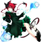 bow braid cat_ears dress fang hair_bow highres kaenbyou_rin pkk red_eyes red_hair redhead ribbon skull tail touhou transparent_background twin_braids
