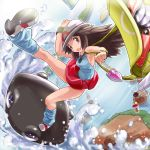 1girl annotated arm_up armpits bag bare_shoulders belt blue blue_(pokemon) blue_background blue_legwear blue_shirt breasts brown_eyes brown_hair card cd creature drop falling falling_card fame_checker finished flipped_hair flute from_above hand_on_hat hat head_tilt holding instrument island key kneehighs leaf_(pokemon) leg_up legs lift_key long_hair looking_at_viewer looking_up loose_socks ocean on_head open_bag open_mouth otsukare outdoors outstretched_leg panties pantyshot pantyshot_(standing) payot perspective poke_ball_theme poke_flute pokedex pokemon pokemon_(game) pokemon_rgby porkpie_hat purple_eyes rainbow_pass rock shirt shoulder_bag shoulders sideboob single_letter skirt skirt_lift sleeveless sleeveless_shirt socks solo standing strap surf surfing surprised team_rocket team_rocket_(cameo) thighs underwear vs_seeker water waves white_panties wristband