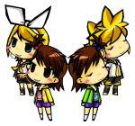 closed_eyes crossover futami_ami futami_mami grin idolmaster kagamine_len kagamine_rin seiyuu_connection seiyuu_joke shimoda_asami siblings twins vocaloid wara_inu