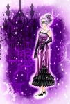 blue_eyes candelabra domino_mask dress elbow_gloves gloves hair_ornament high_heels highres jewelry mask masquerade necklace original pixiv_hogwarts purple purple_hair shoes snowflakes