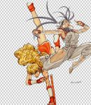 2girls ankle_wraps armpits black_hair blonde_hair blue_eyes breasts capcom checkered checkered_background curly_hair final_fight genryuusai_maki ibuki jumping kote kunai lips long_hair mouth_hold multiple_girls muscle ninja ponytail scarf steven_mack street_fighter street_fighter_iii toast toast_in_mouth tonfa torn_clothes torn_sleeves upside-down vambraces very_long_hair weapon
