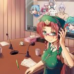 1boy against_glass ahoge bespectacled bow braid breasts censored chibi chinese_clothes cirno cleavage contemporary cup ein-l-f flandre_scarlet glasses green_eyes hair_bow hair_intakes hand_on_headphones headphones hong_meiling izayoi_sakuya kawashiro_nitori long_hair morichika_rinnosuke multiple_girls nude paper pencil pocket_watch radio_booth red_eyes red_hair remilia_scarlet silver_hair smile table touhou tsugaru_(co-walker) twin_braids watch